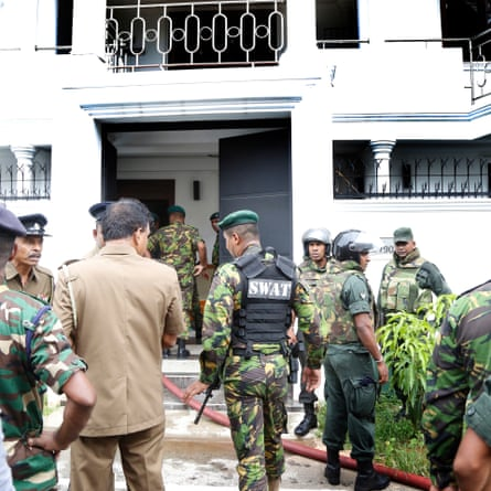 Security forces at the Colombo home of the spice exporter Mohamed Yusuf Ibrahim