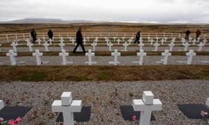 Argentinian Falklands war veterans at Darwin cemetery in 2012.