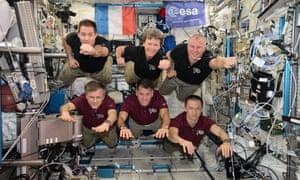 ESA astronaut Thomas Pesquet, Nasa astronauts Shane Kimbrough and Peggy Whitson and cosmonauts Oleg Novitsky, Andrei Borisenko and Sergei Ryzhikov aboard the International Space Station
