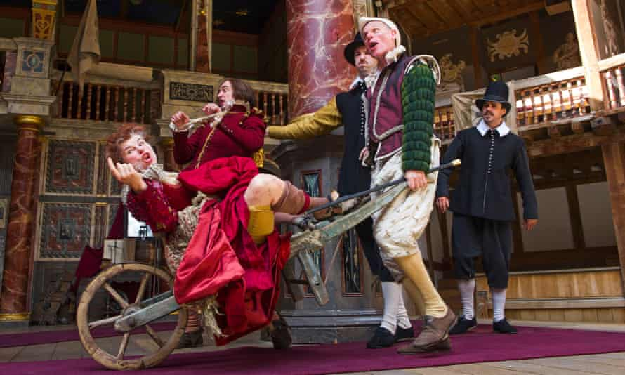 Measure for Measure at the Globe: Petra Massey as Mistress Overdone and Trevor Fox as Pompey.