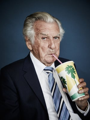 The former Australian prime minister Bob Hawke savours a strawberry milkshake. The shot was a finalist in the 2018 National Photographic Portrait prize