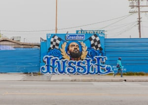 A Nipsey Hussle mural across from the Marathon Clothing Store on Thursday.