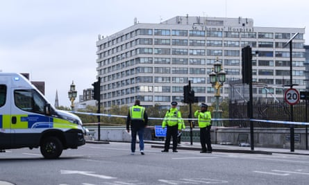 Police on Westminster Bridge on Tuesday morning after an incident at St Thomas' hospital
