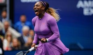 Serena Williams celebrates a second-set break.