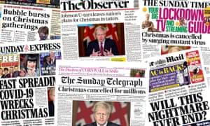 Halaman depan UK Papers pada 20 Desember 2020 saat Inggris memasuki batasan level 4 selama Natal