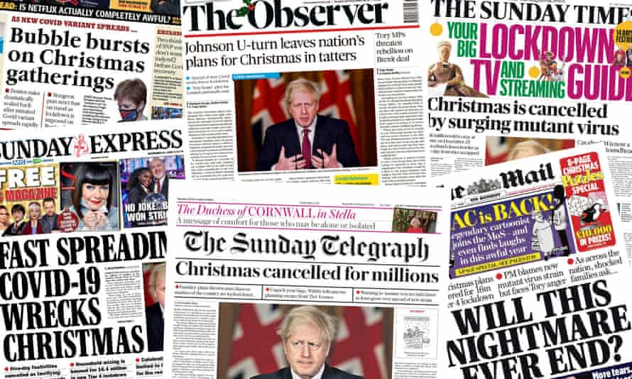Front pages of UK papers on 20 December 2020.
