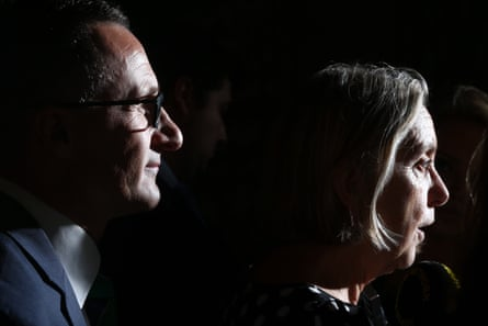 Greens leader Richard Di Natalie and Lee Rhiannon at a press conference in Parliament House, Canberra.