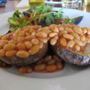 Baked potato and beans.