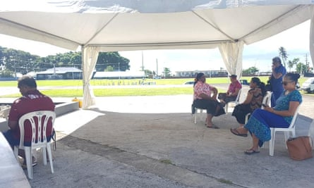 Samoan journalists in a tent outside parliament house in Apia during the discussion of 2020/2021 budget in May 2020.