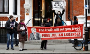 Julian Assange supporters demonstrate outside the Ecuadorian embassy in London