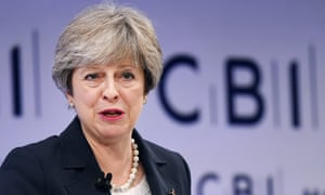 Theresa May delivers speech at the annual CBI conference