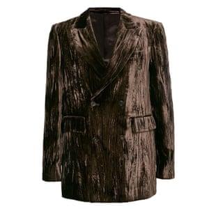 Brown crushed velvet jacket, Topman