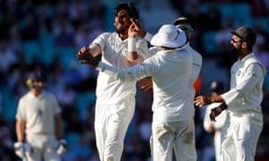 India's Ishant Sharma celebrates after dismissing Moeen Ali.