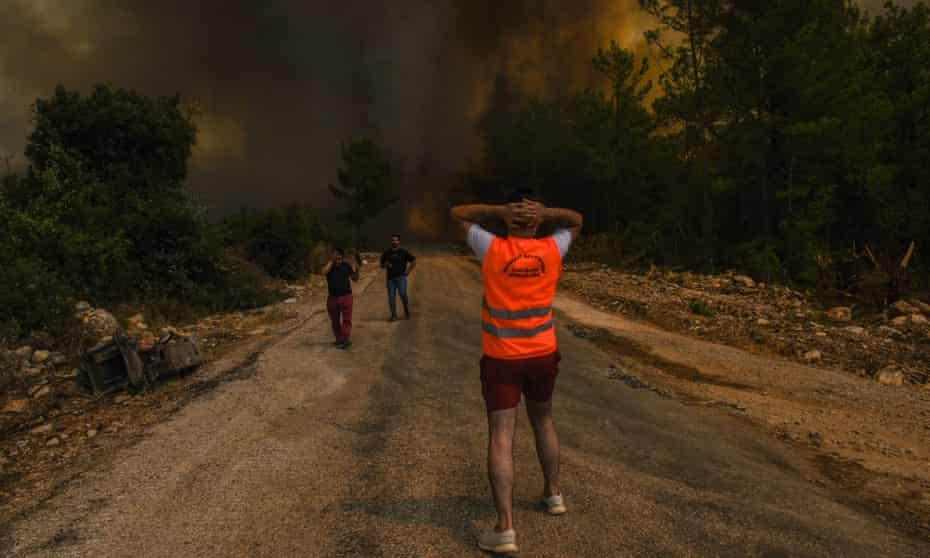 Fire devastates the village of Sirtkoy, near Manavgat in Antalya, Turkey.