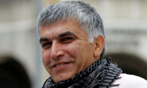 Nabeel Rajab arriving for a court hearing in Manama.