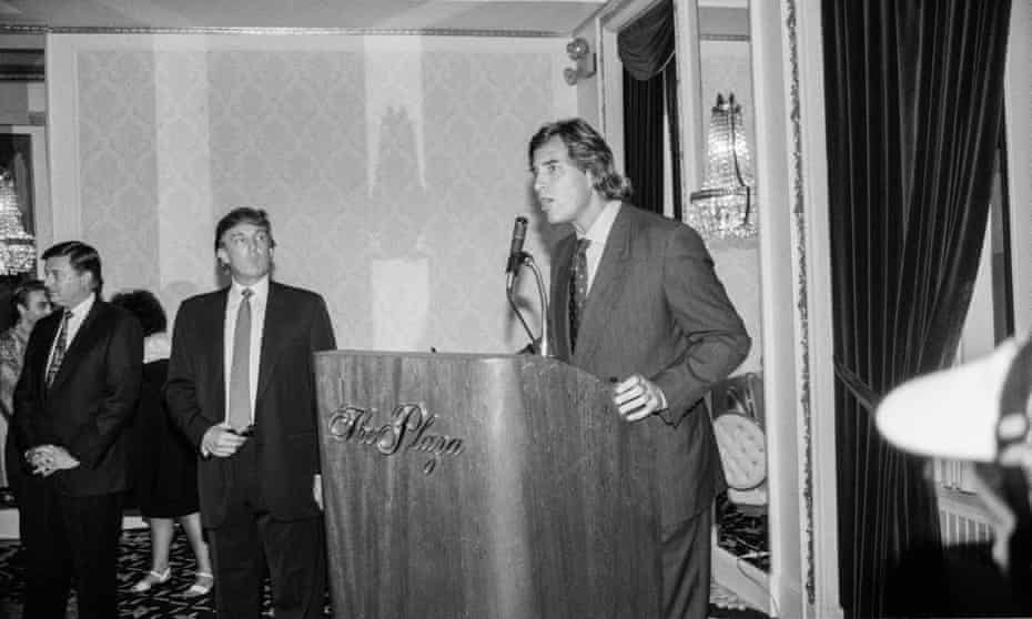 Casablancas speaking at a Look of the Year reception in 1991 at the Plaza Hotel, alongside Trump