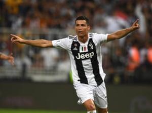 Ronaldo celebrates after scoring the opener.