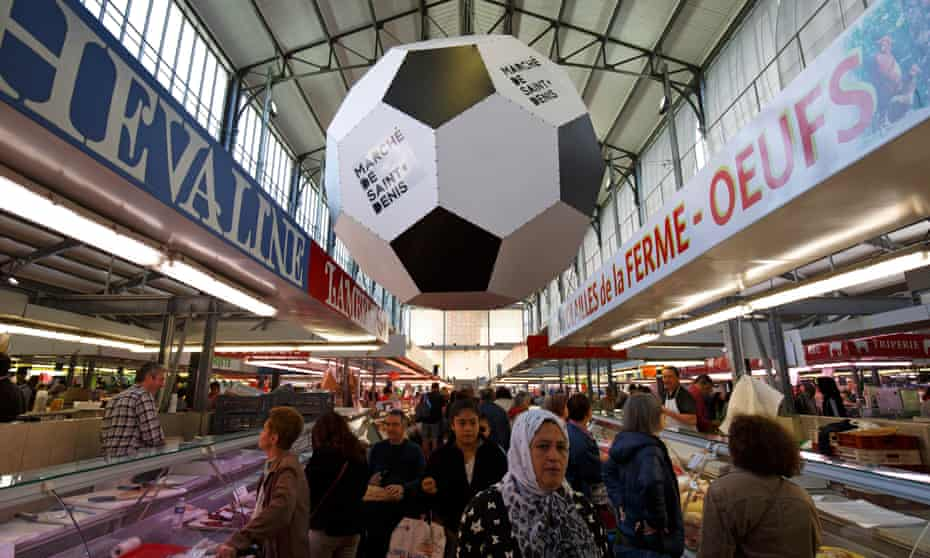 A football for Euro 2016 in the indoor market in the city centre.