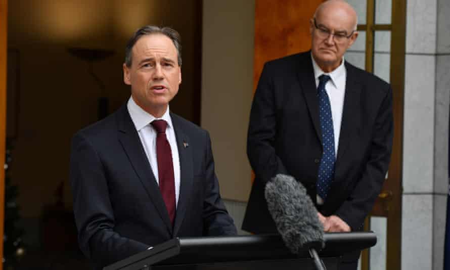 The Australian health minister, Greg Hunt, and Professor John Skerritt