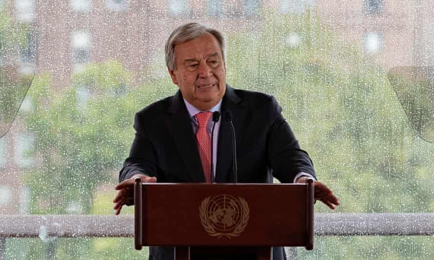 United Nations secretary-general António Guterres delivers a speech on climate change at the UN headquarters in New York, 10 Sept