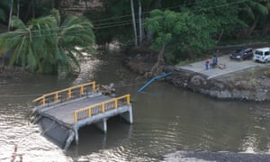 A washed-away bridge south of Coulihaut, Dominica.