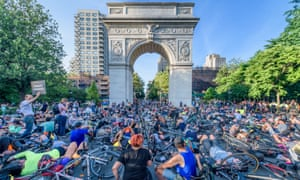 Hundreds of cyclists hold 'die-in' in New York City to