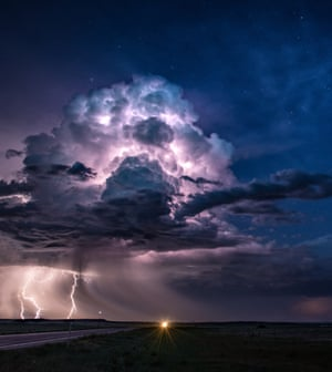 Out on the backroads of the Great Plains this storm looked magic under starry skies.