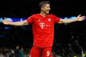 Robert Lewandowski celebrates after scoring his second, and Bayern's sixth goal.