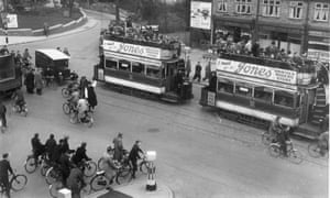 Trams filled with workers from the Bristol Aeroplane Company's factory in 1939.