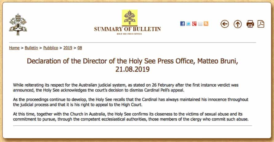 The Vatican's response after Cardinal George Pell loses his appeal on child sexual assault conviction. Melbourne, Australia. 21 August 20.
