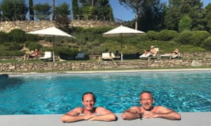 Martin Love and friend cool off in a pool