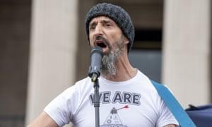 Darren Nesbitt aka Darren Smith at an anti-lockdown protest in London in September.
