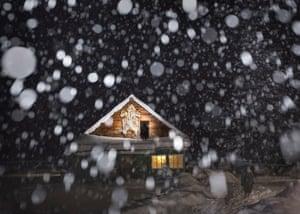 Snow falls in Taiga
