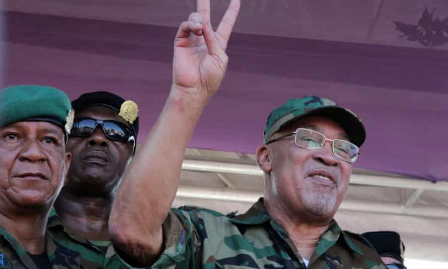 Suriname's president Desi Bouterse after appearing in court where he was found guilty of murder in absentia for the 1982 execution of 15 activists, in Paramaribo, Suriname, on 22 January.