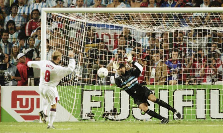 Carlos Roa saves a penalty by England's David Batty to send Argentina through to the 1998 World Cup quarter finals.