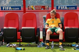 Kellond-Knight sits on the bench after the Matildas' quarter-final defeat to Japan at the Women's World Cup earlier this year.