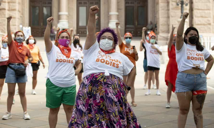 A protest against the six-week abortion ban at the capitol in Austin, Texas, on Wednesday.