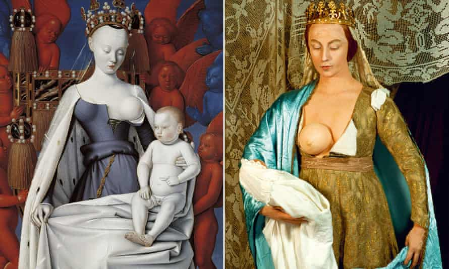 Jean Fouquet's 1450 diptych (left), and Cindy Sherman's 1989 re-creation of it.