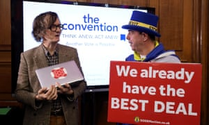 Jarvis Cocker speaking to Steve Bray, who protests against Brexit daily outside the Houses of Parliament, at the second referendum convention in London today.