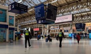 Police officers at Victoria station in central London