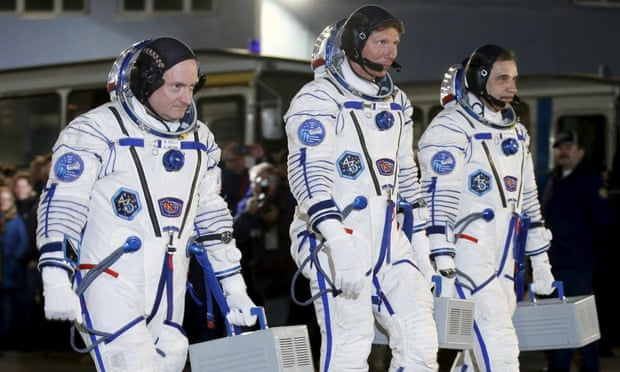 Scott Kelly, Mikhail Kornienko and Gennady Padalka prepare to blast off.