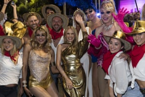 Pop star Kylie Minogue with participants.