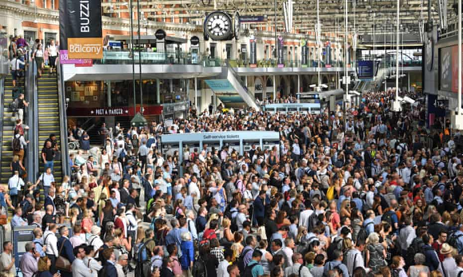 Stranded commuters at Waterloo Station, London