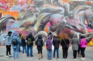 Leaf's graffiti class in Manhattan, where he explained life as a modern artist.