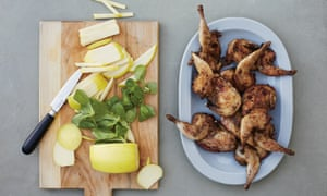 Char-grilled quail with apple, frisee and lamb's lettuce - Giorgio Locatelli