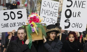 Protesters stage a mock funeral procession in 2014 for Madame Jojo's.