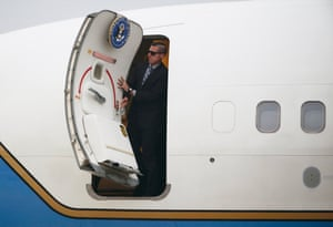 Kuala Lumpur, Malaysia Men in black: A security guard opens the door of a plane as US secretary of state Rex Tillerson arrives in Subang for a two-day working visit to the country