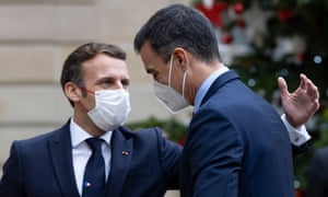 Macron greeted the Spanish PM Pedro Sánchez with pats on the back as he arrived for a working lunch at the Elysee Palace.