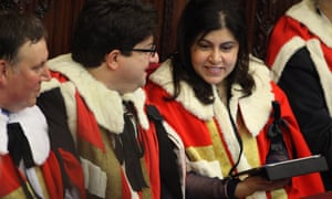Lady Warsi in the House of Lords for the State Opening of Parliament in 2012.