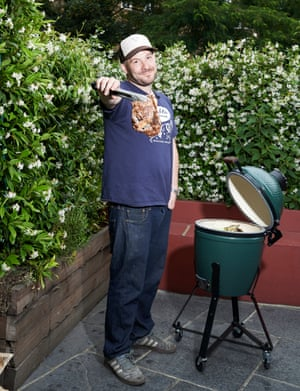 Al-fresco cooking: chef Neil Rankin cooking with a Big Green Egg.